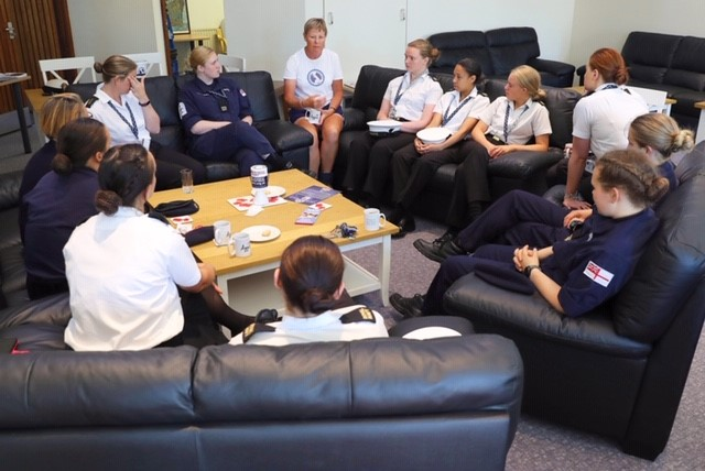 Jane Allen talks to young female sailors