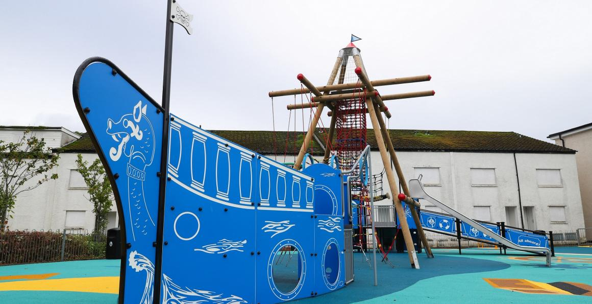 New Children's playpark at Drumfork Community centre which was funded by the Royal Navy and Royal Marines Charity