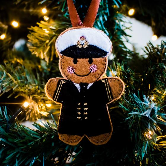 Royal Navy Male Officer Gingerbread tree decoration