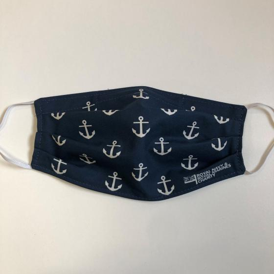 RNRMC navy blue and white anchor cloth face mask