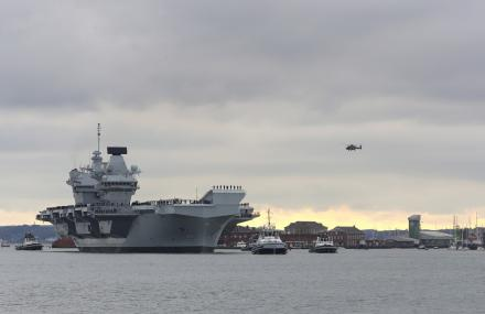 HMS prince of Wales arrives in Portsmouth