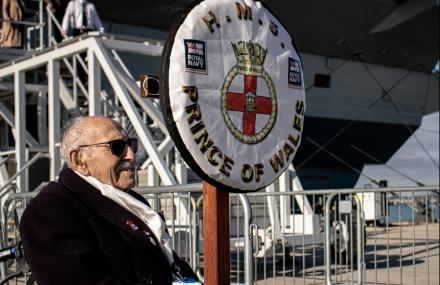 101-year-old WW2 veteran Royal Harland on HMS Prince of Wales